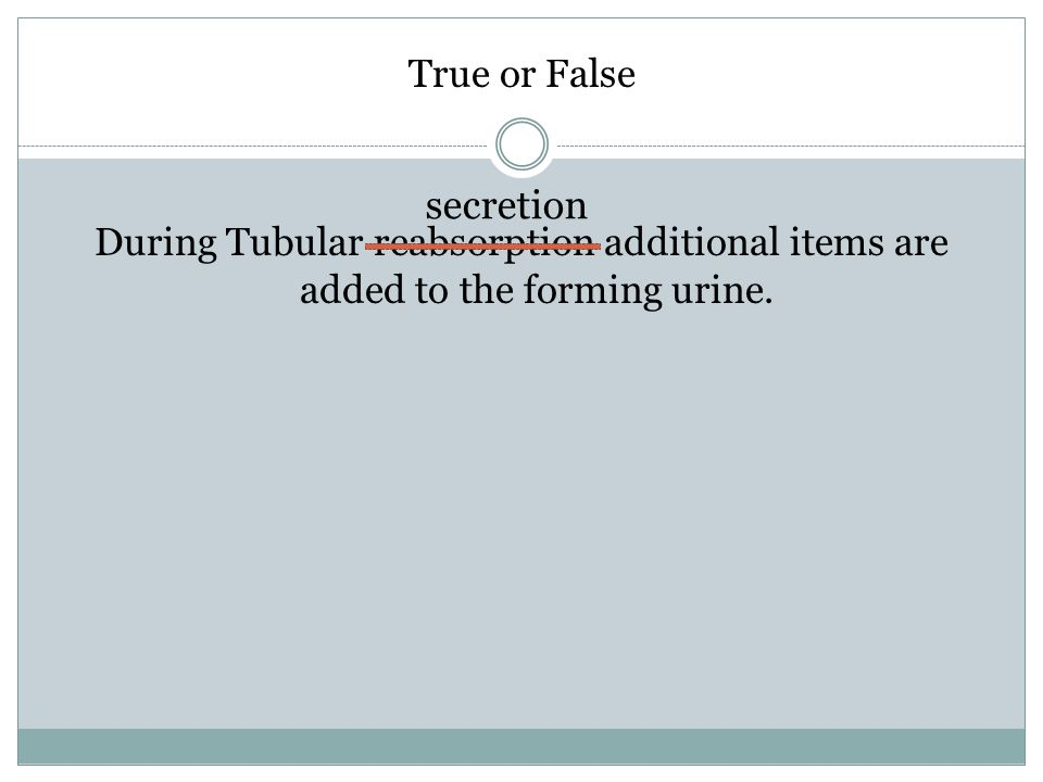 True or False During Tubular reabsorption additional items are added to the forming urine.