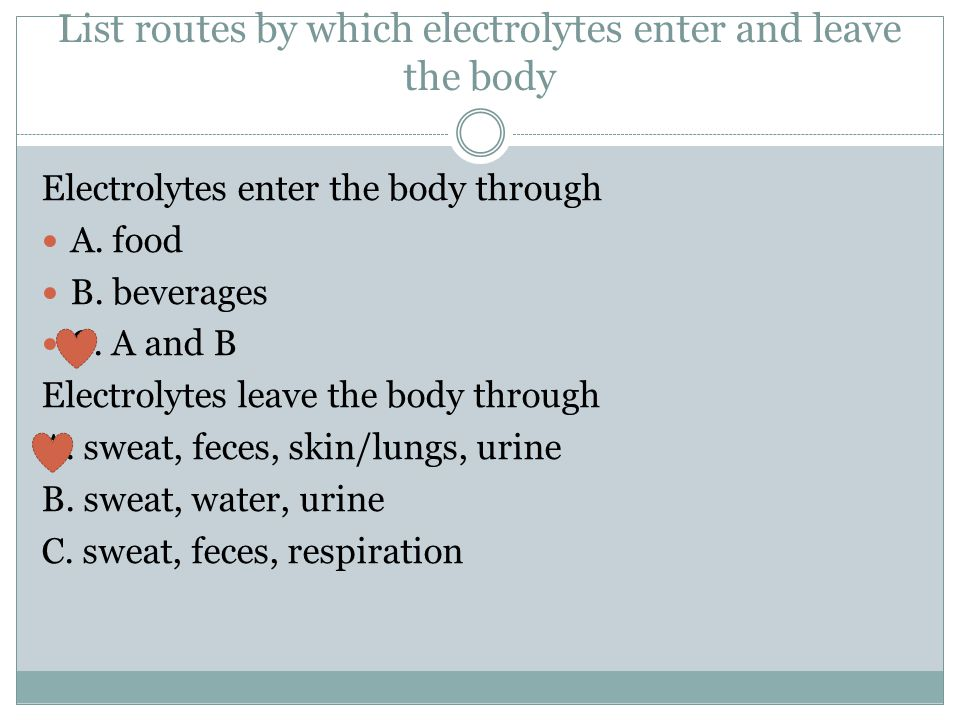 List routes by which electrolytes enter and leave the body
