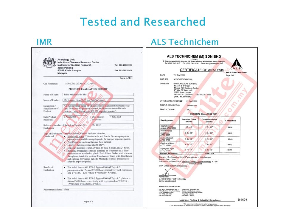 Tested and Researched IMR ALS Technichem