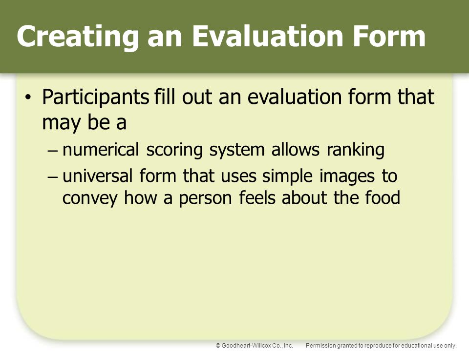 Creating an Evaluation Form