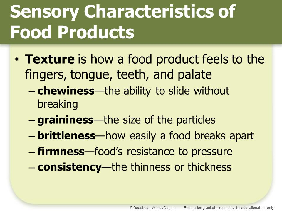 Sensory Characteristics of Food Products