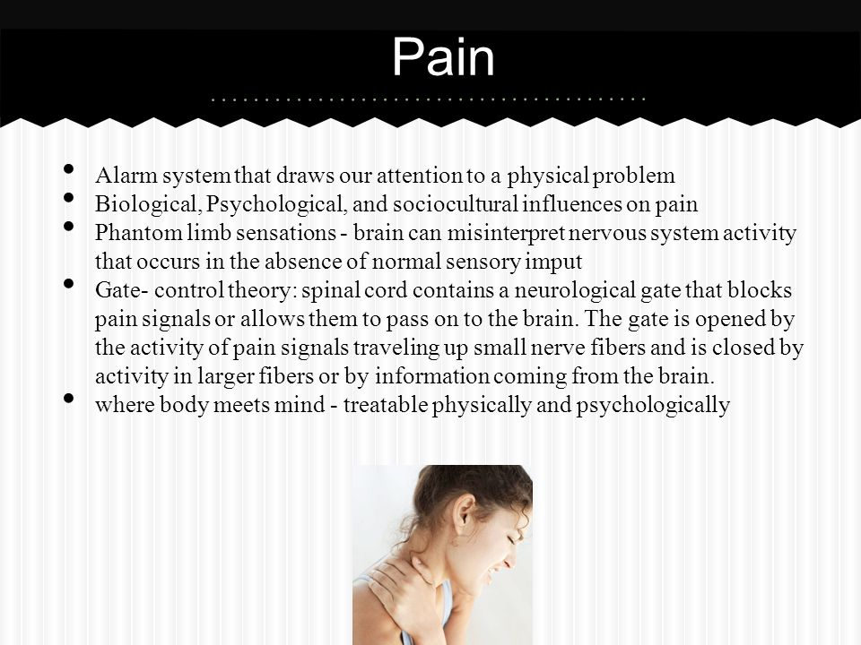 Pain Alarm system that draws our attention to a physical problem