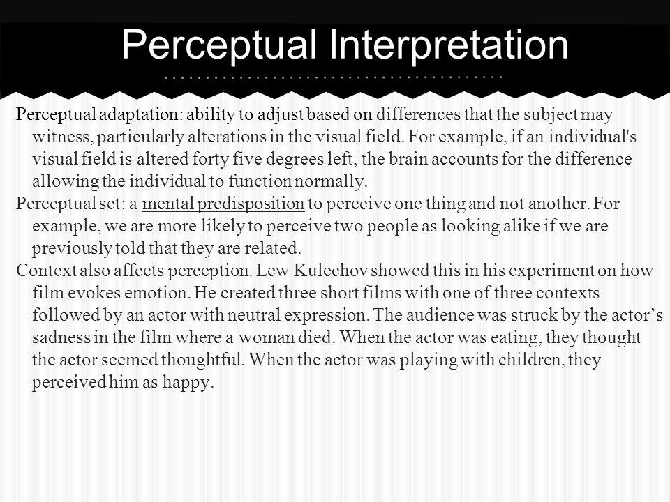 Perceptual Interpretation