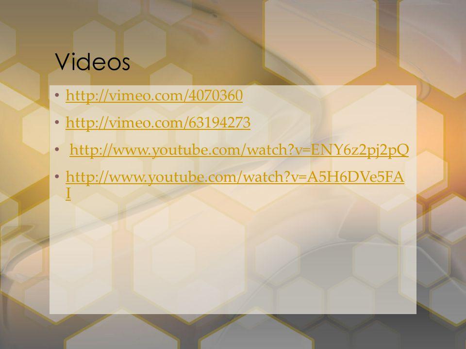 Videos http://vimeo.com/4070360 http://vimeo.com/63194273