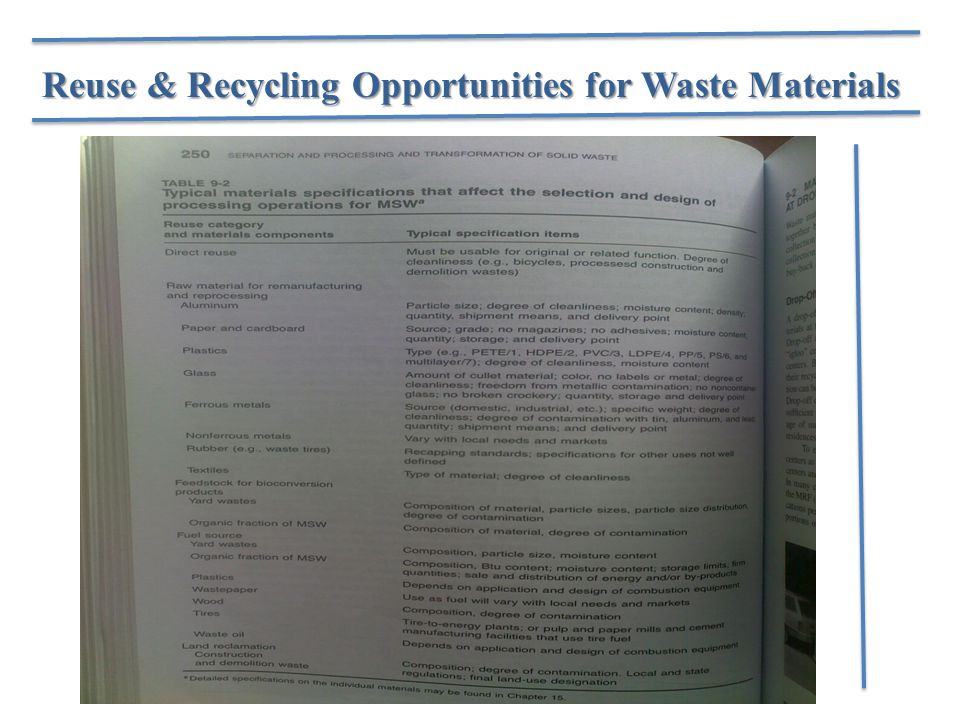 Reuse & Recycling Opportunities for Waste Materials