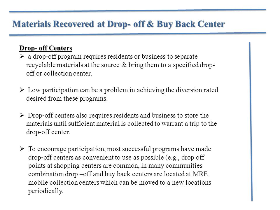 Materials Recovered at Drop- off & Buy Back Center