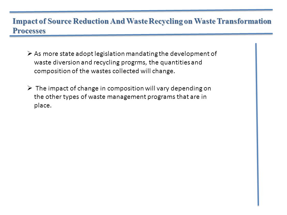 Impact of Source Reduction And Waste Recycling on Waste Transformation Processes