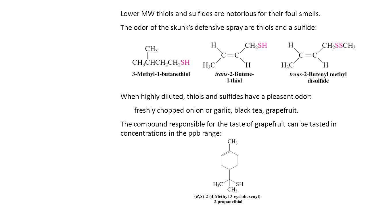 Lower MW thiols and sulfides are notorious for their foul smells.