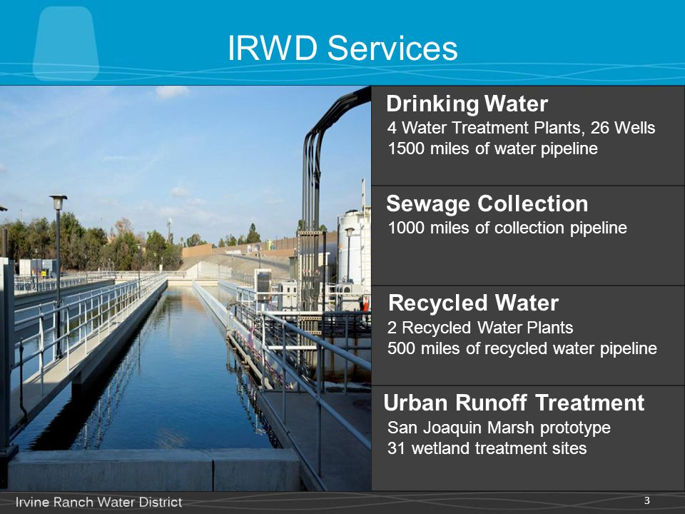 IRWD Services Drinking Water. 4 Water Treatment Plants, 26 Wells 1500 miles of water pipeline.