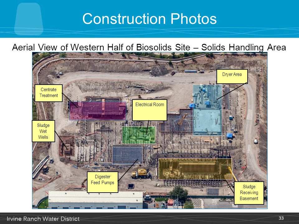 Construction Photos Aerial View of Western Half of Biosolids Site – Solids Handling Area. Dryer Area.