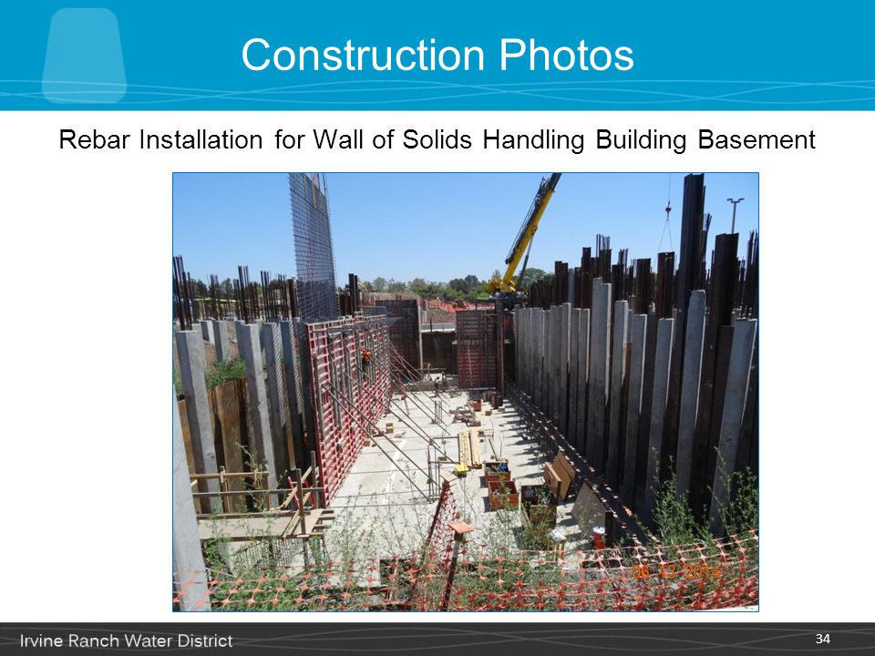 Rebar Installation for Wall of Solids Handling Building Basement