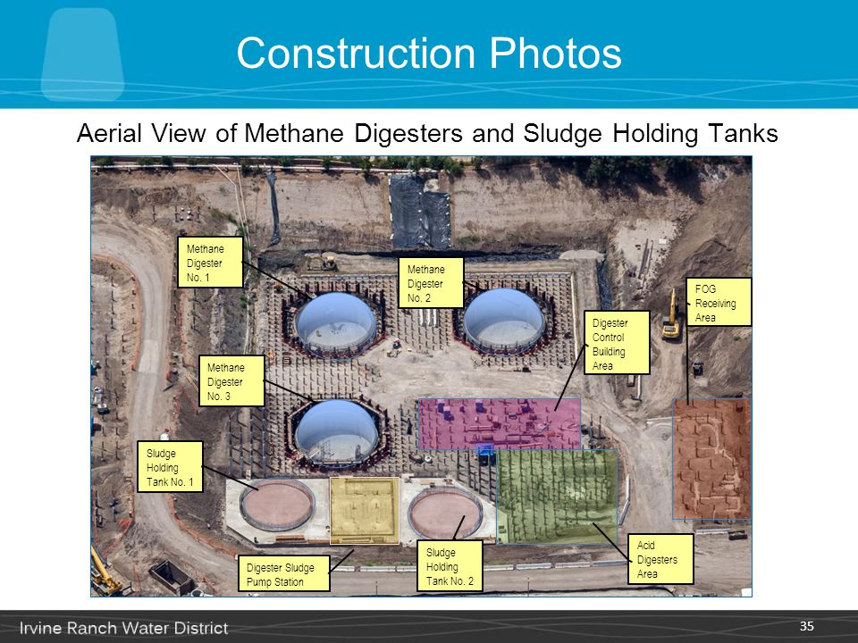 Aerial View of Methane Digesters and Sludge Holding Tanks