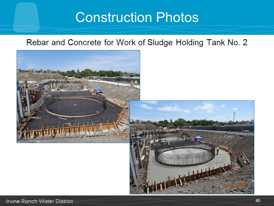 Rebar and Concrete for Work of Sludge Holding Tank No. 2