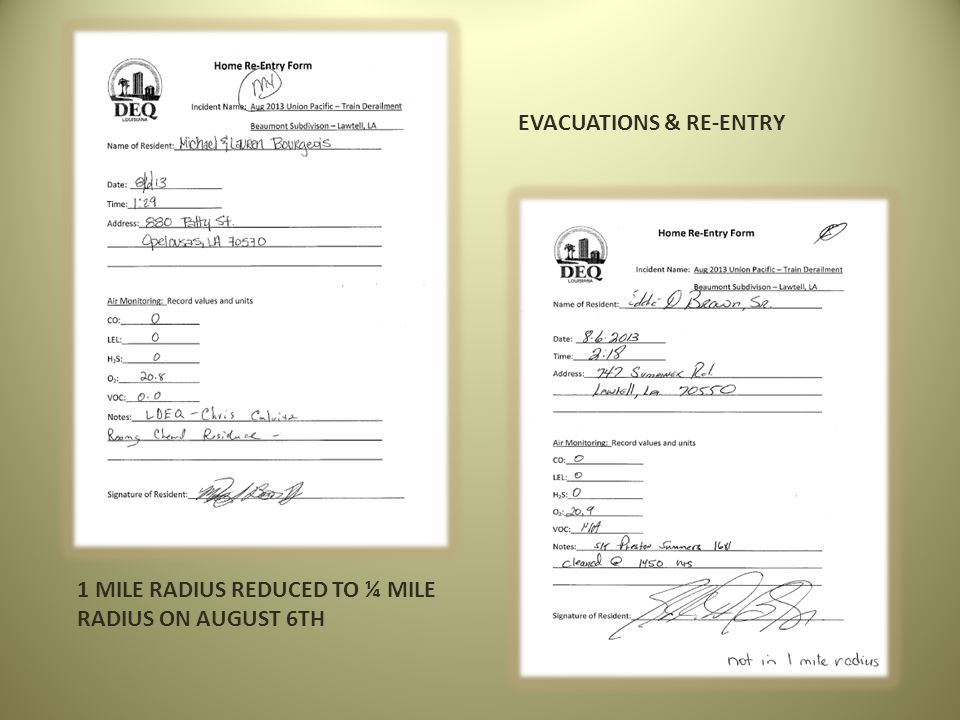 EVACUATIONS & RE-ENTRY