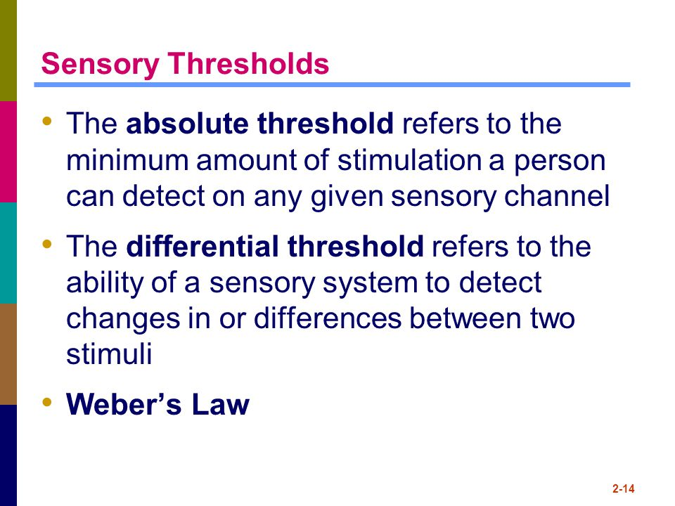 Sensory Thresholds The absolute threshold refers to the minimum amount of stimulation a person can detect on any given sensory channel.