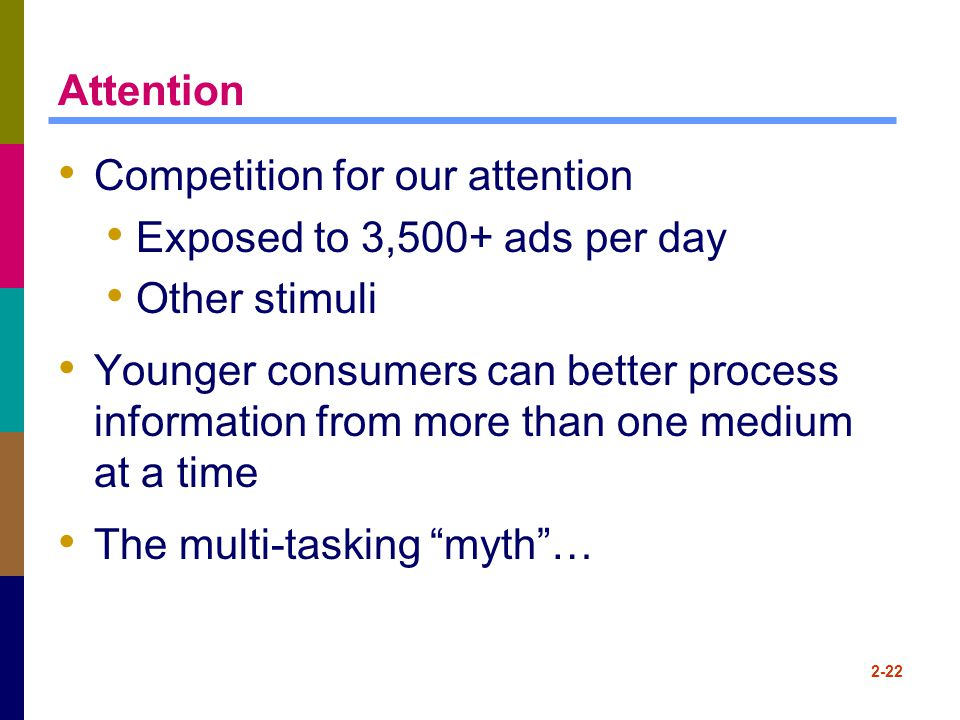 Attention Competition for our attention. Exposed to 3,500+ ads per day. Other stimuli.