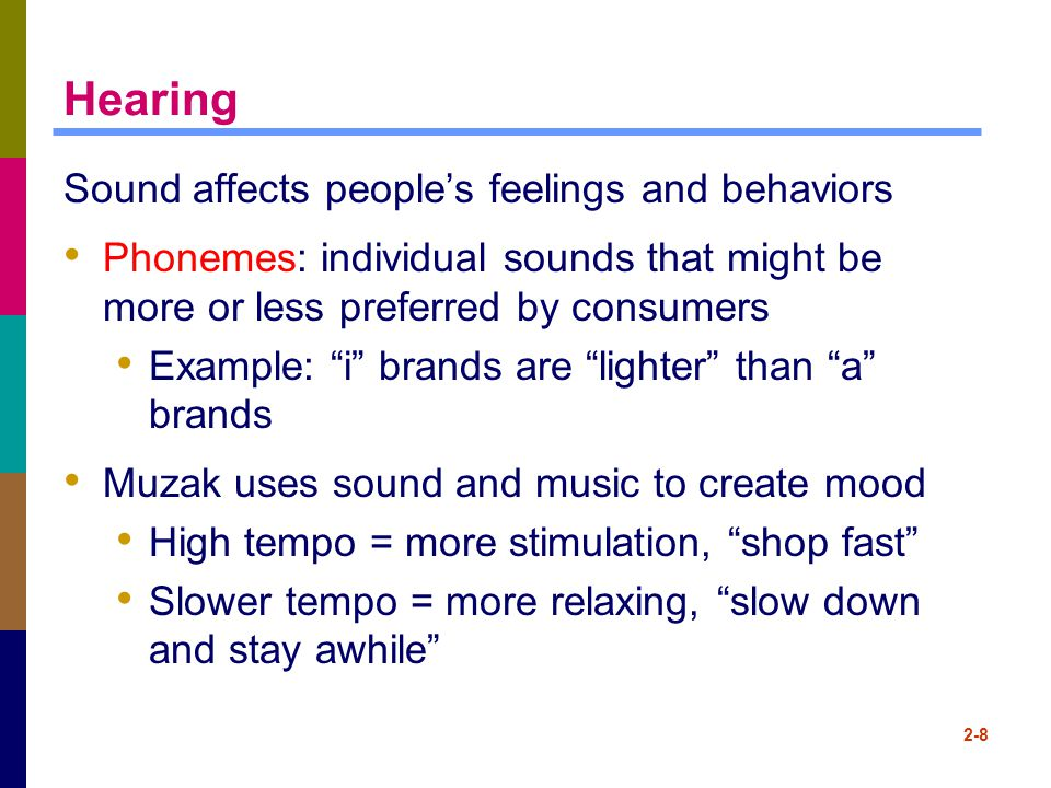 Hearing Sound affects people's feelings and behaviors