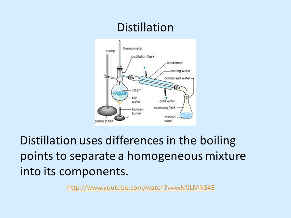 Distillation Distillation uses differences in the boiling points to separate a homogeneous mixture into its components.