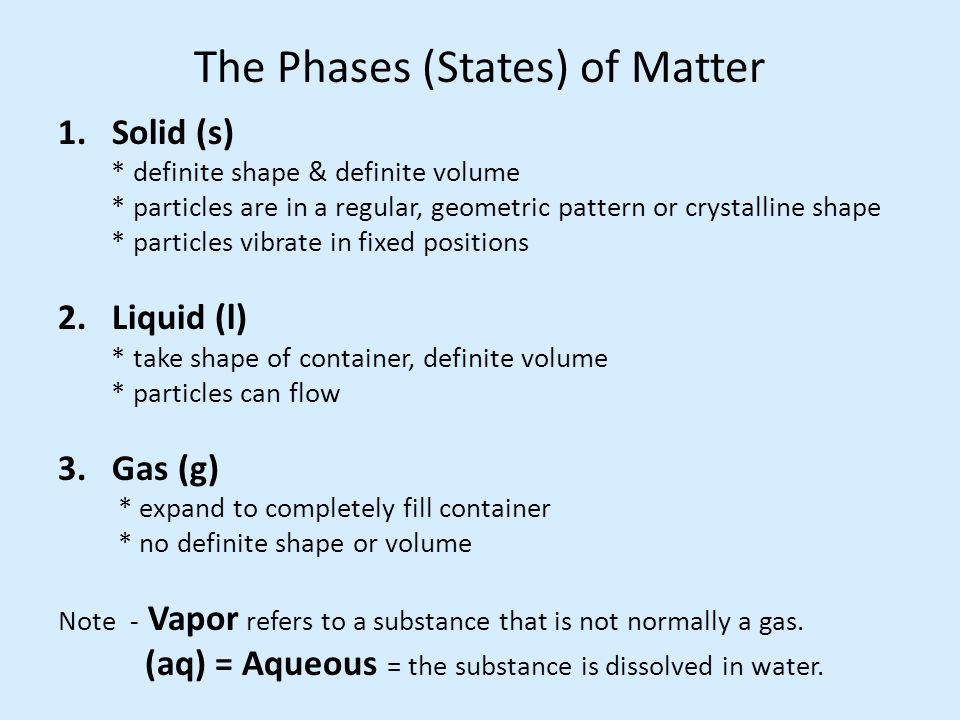The Phases (States) of Matter