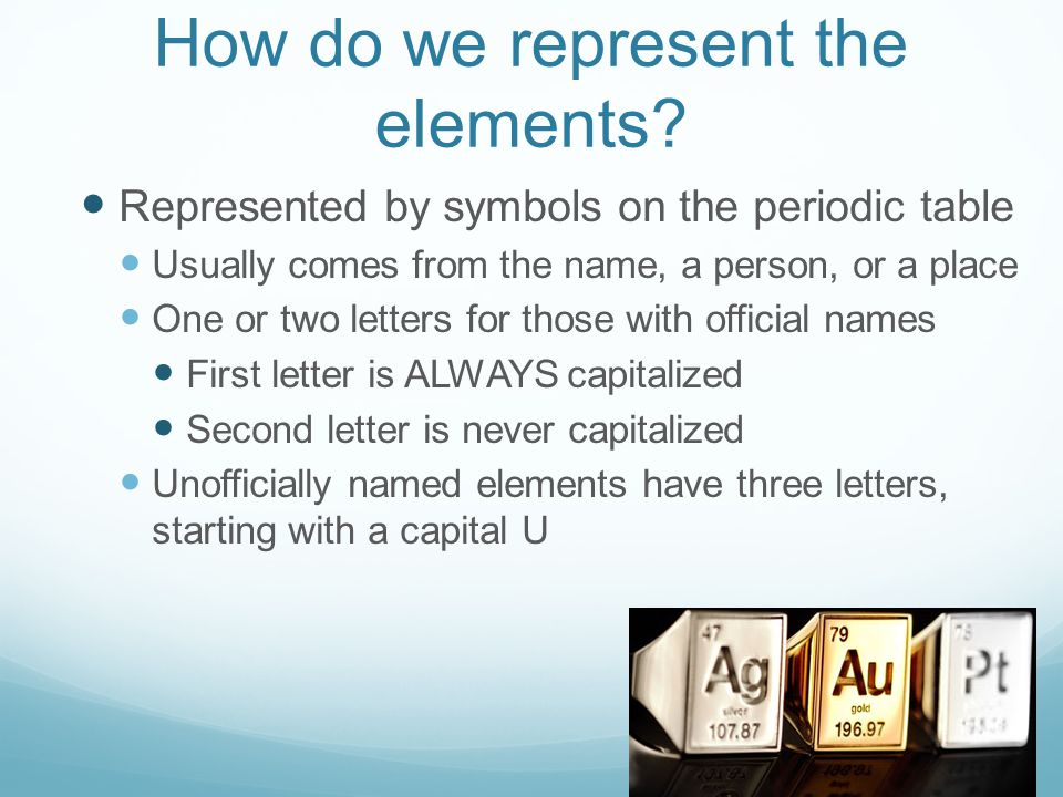 How do we represent the elements