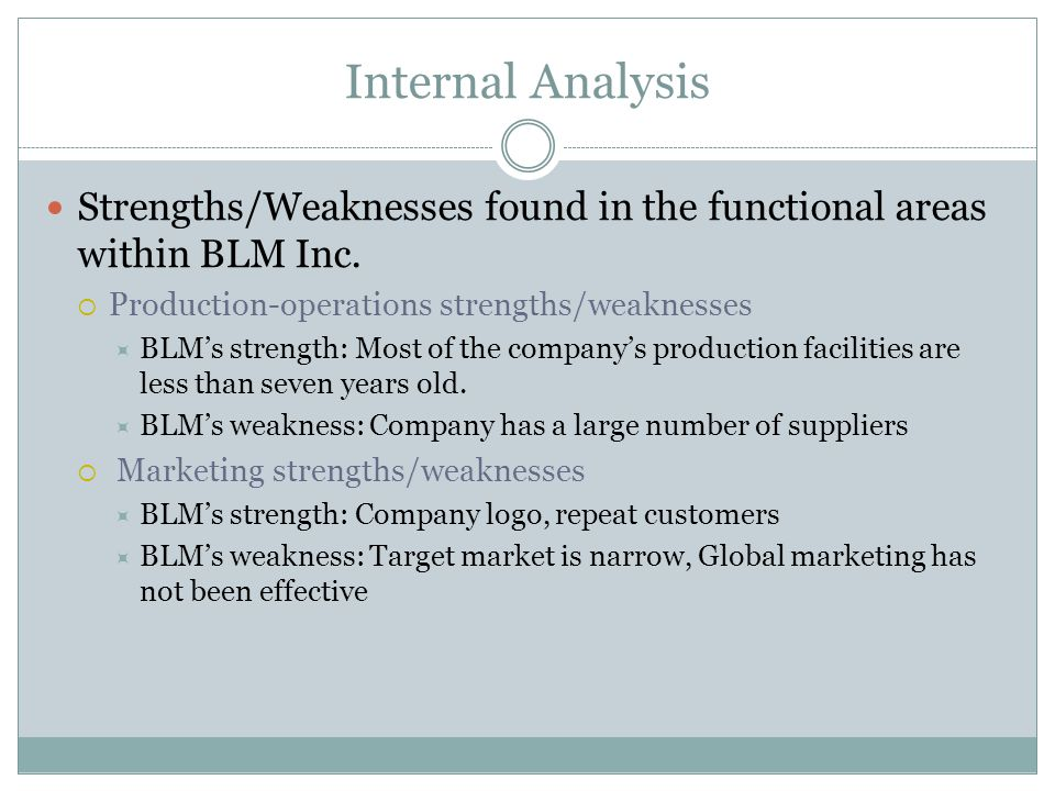 Internal Analysis Strengths/Weaknesses found in the functional areas within BLM Inc. Production-operations strengths/weaknesses.