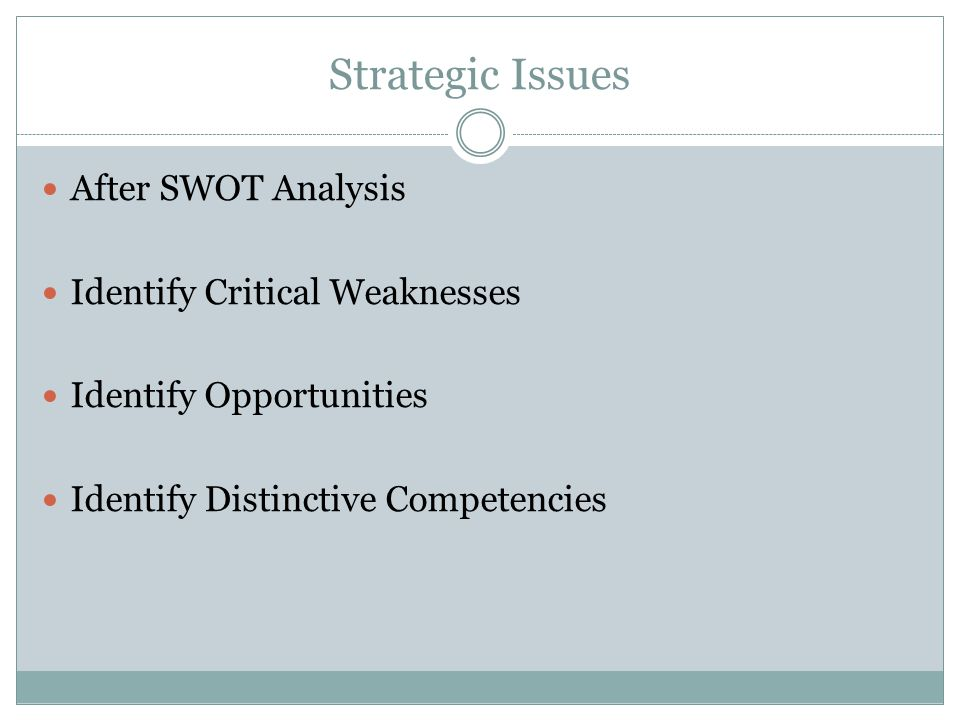 Strategic Issues After SWOT Analysis Identify Critical Weaknesses