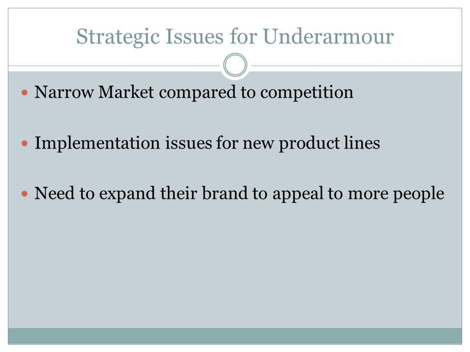 Strategic Issues for Underarmour
