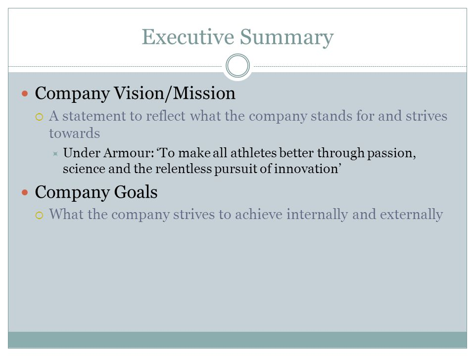 Executive Summary Company Vision/Mission Company Goals