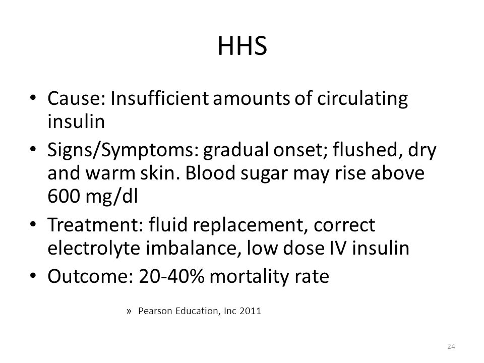 HHS Cause: Insufficient amounts of circulating insulin