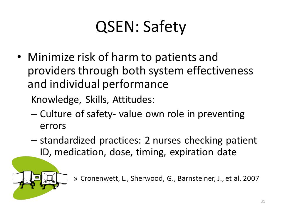 QSEN: Safety Minimize risk of harm to patients and providers through both system effectiveness and individual performance.