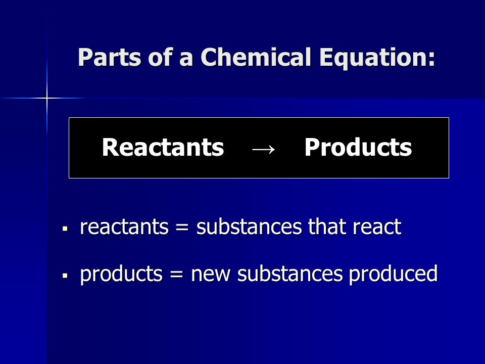 Parts of a Chemical Equation: