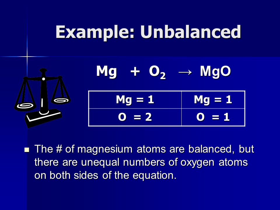 Example: Unbalanced Mg + O2 → MgO