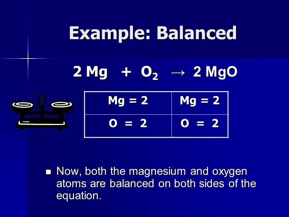 Example: Balanced 2 Mg + O2 → 2 MgO Mg = 2 O = 2