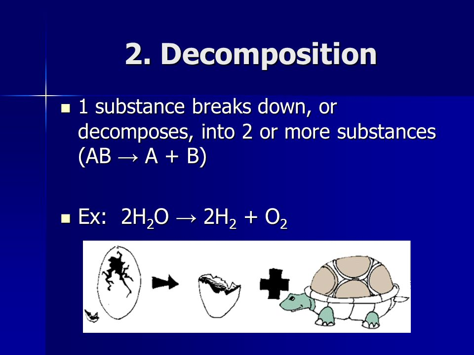 2. Decomposition Ex: 2H2O → 2H2 + O2