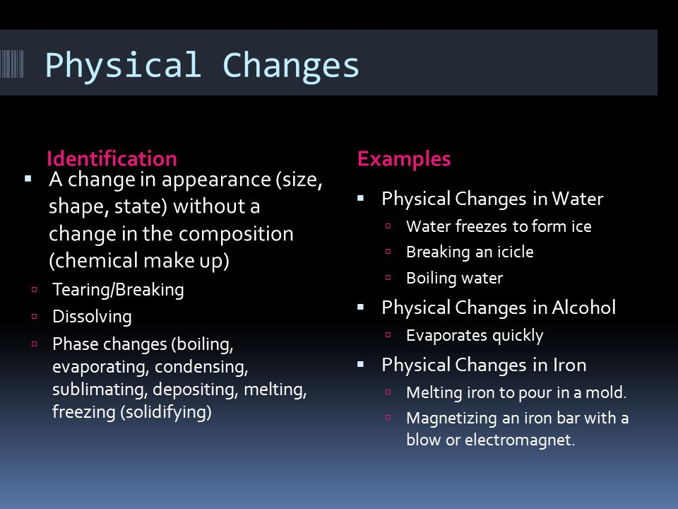 Physical Changes Identification Examples