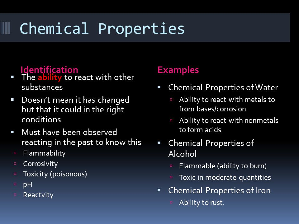 Chemical Properties Identification Examples