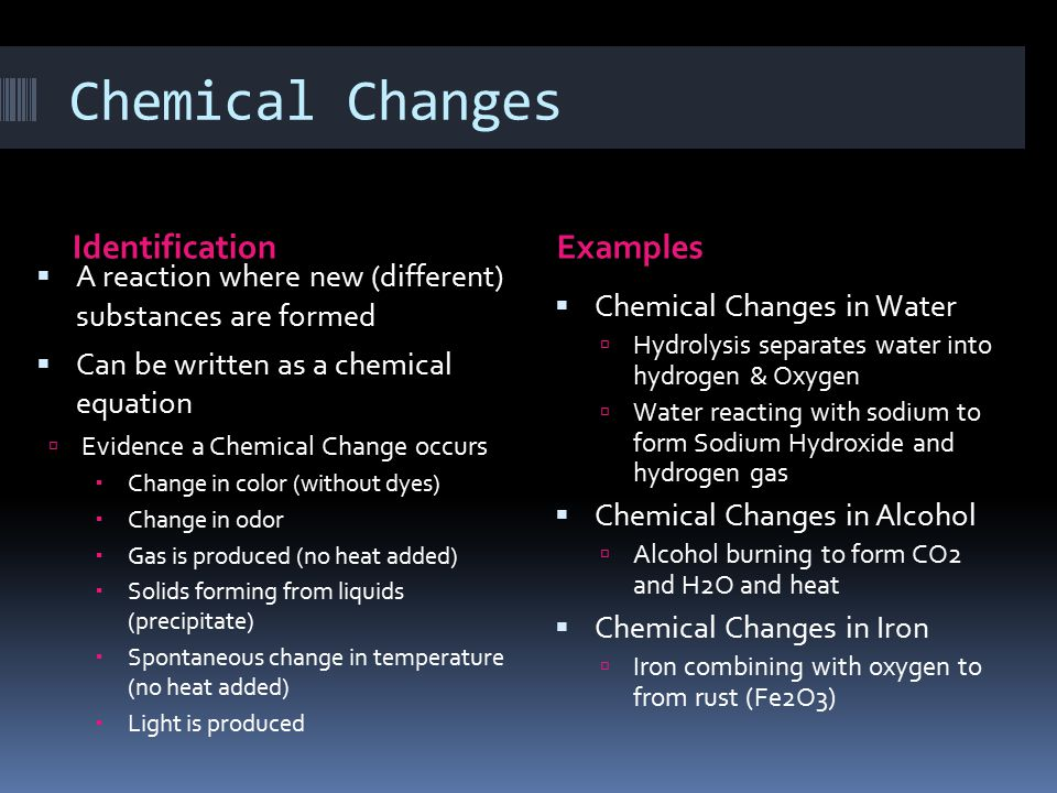 Chemical Changes Identification Examples