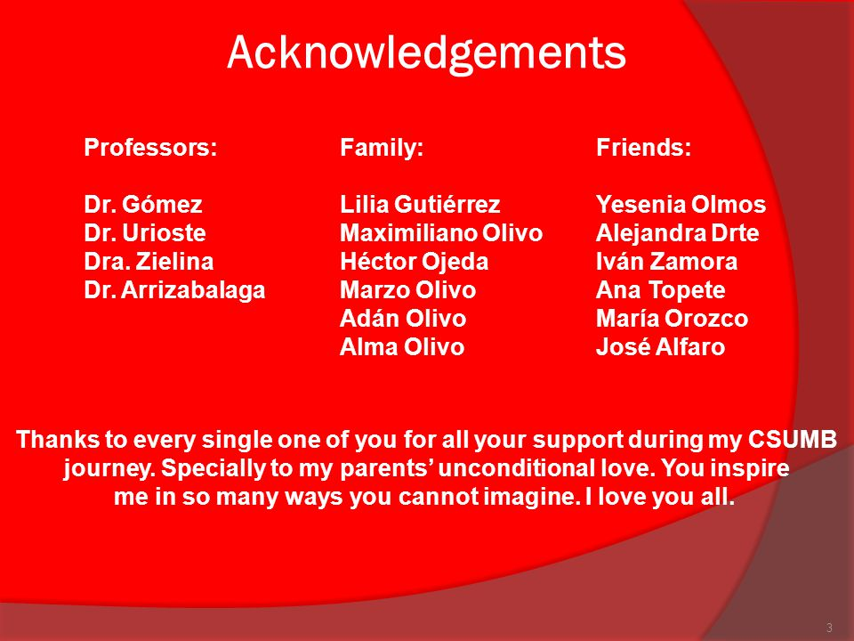Acknowledgements Professors: Family: Friends: