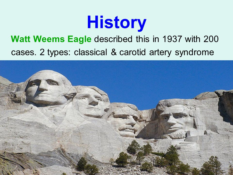 History Watt Weems Eagle described this in 1937 with 200 cases.