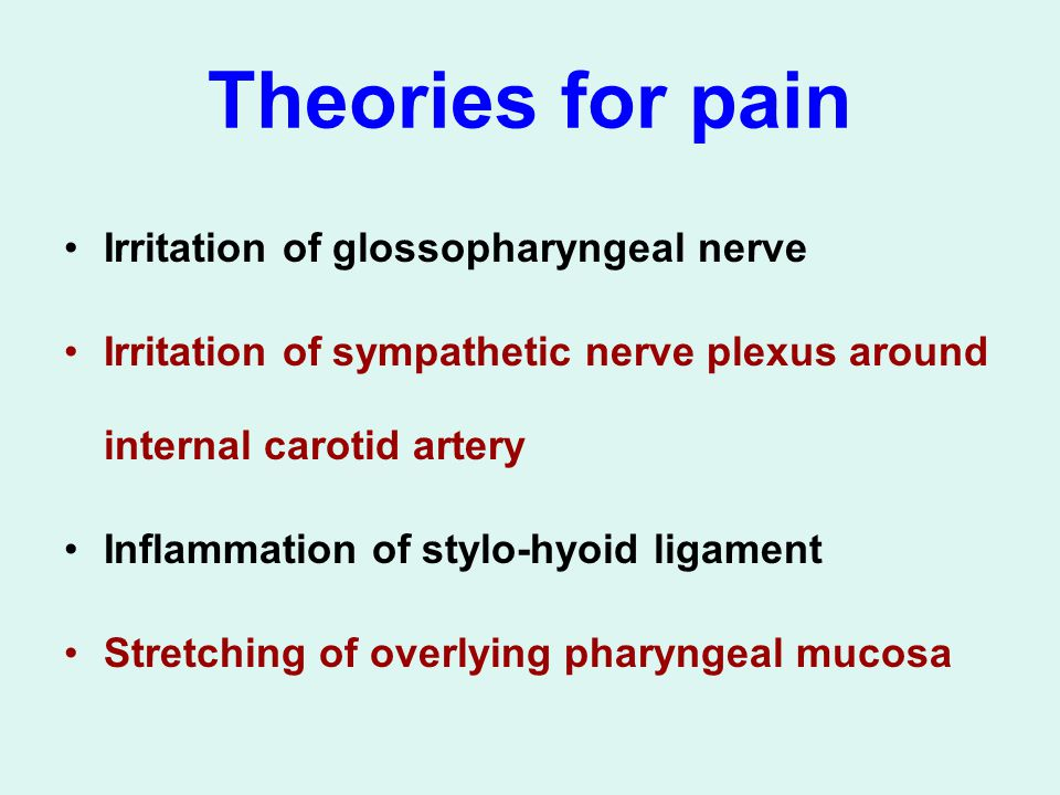 Theories for pain Irritation of glossopharyngeal nerve