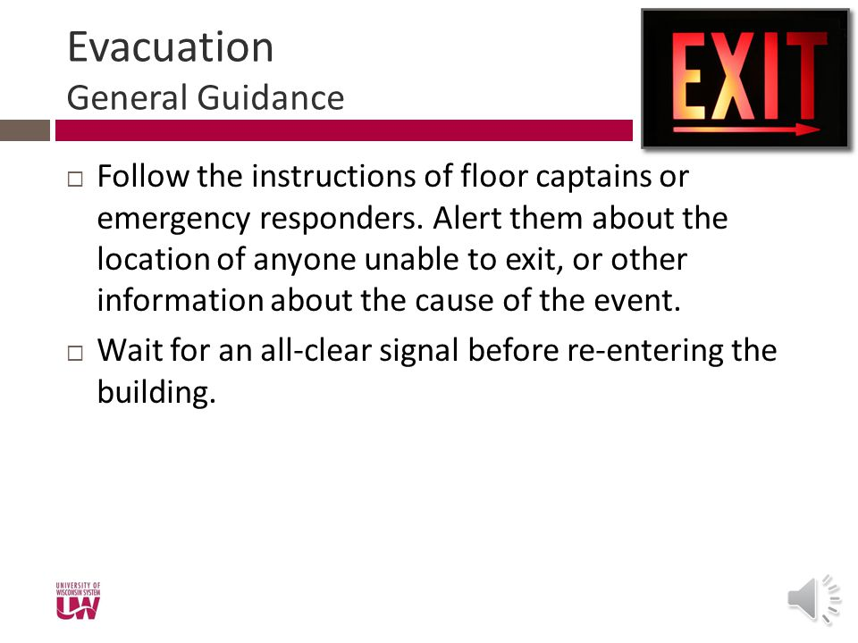 Evacuation General Guidance