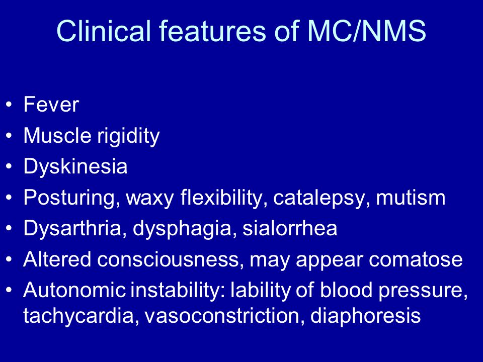 Clinical features of MC/NMS