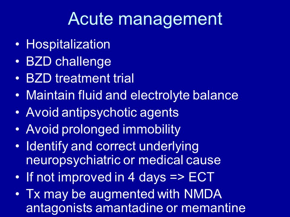 Acute management Hospitalization BZD challenge BZD treatment trial