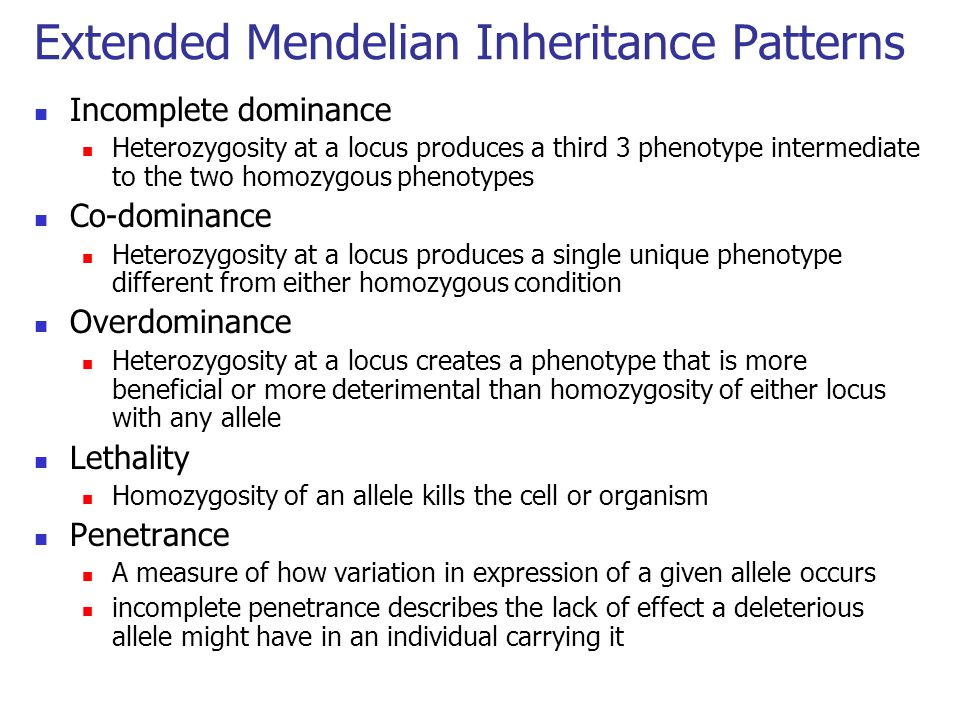Extended Mendelian Inheritance Patterns
