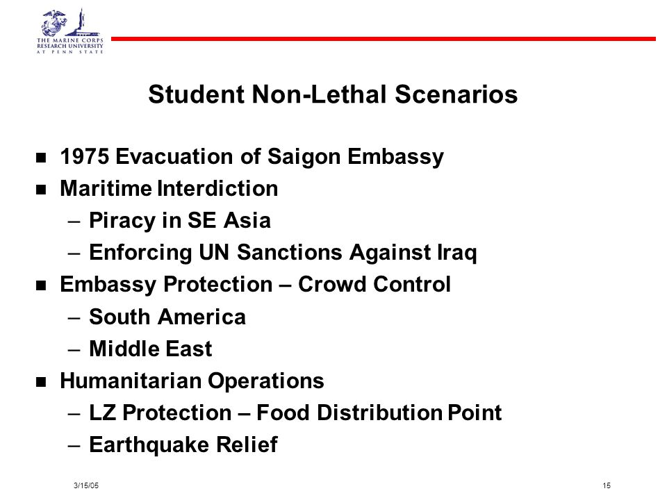 Student Non-Lethal Scenarios