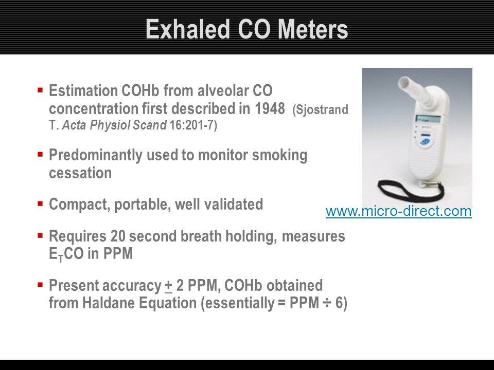 Exhaled CO Meters Estimation COHb from alveolar CO concentration first described in 1948 (Sjostrand T. Acta Physiol Scand 16:201-7)