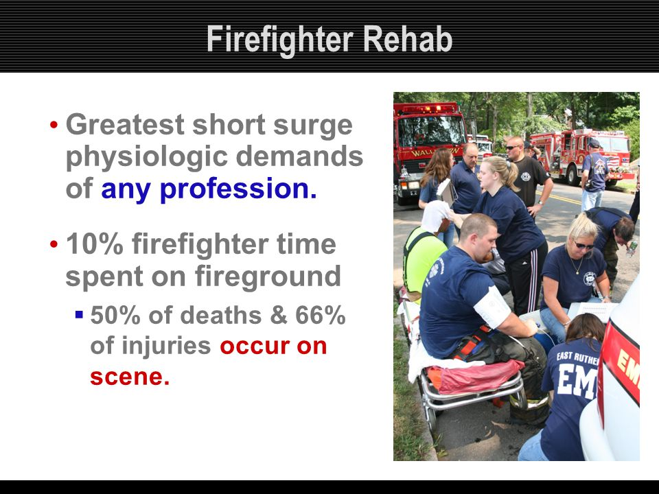 Firefighter Rehab Greatest short surge physiologic demands of any profession. 10% firefighter time spent on fireground.