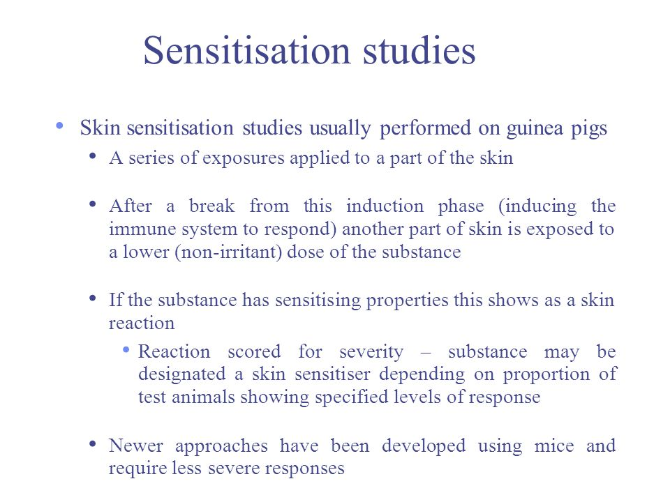 Sensitisation studies