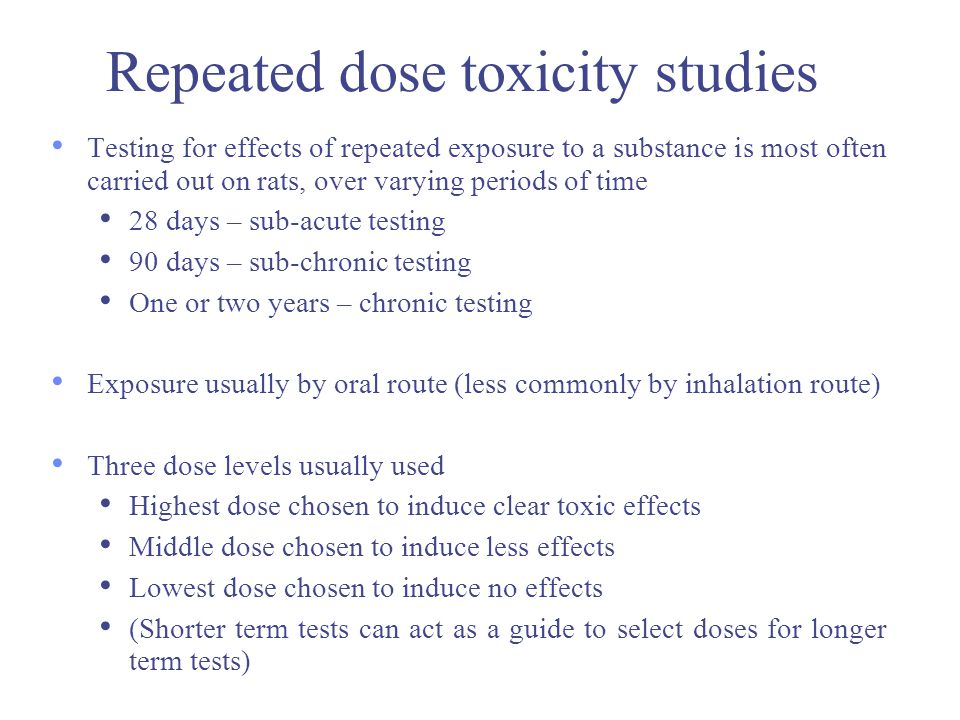 Repeated dose toxicity studies