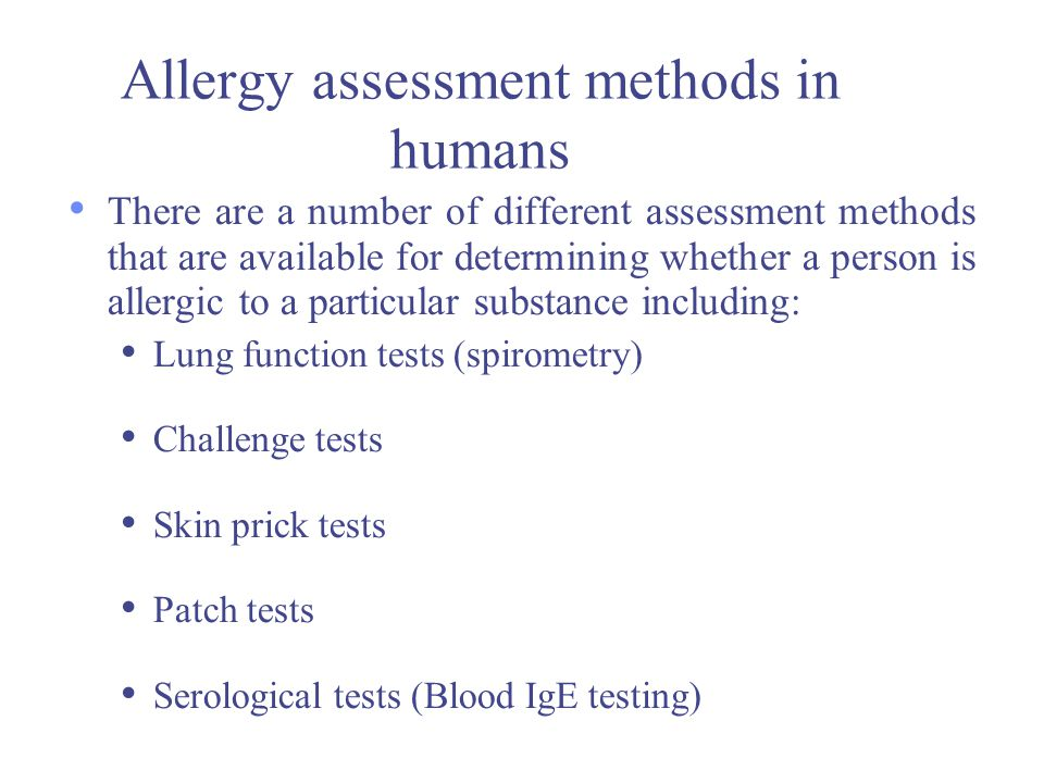 Allergy assessment methods in humans